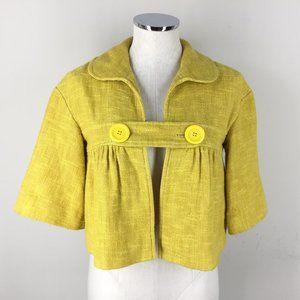 Anthropologie Tibi XS 2 Yellow Linen Swing jacket